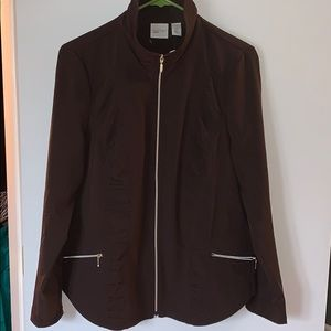 Chico's Zenergy Brown Ruched Zip Up Jacket Size M